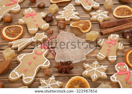 Christmas background of different biscuits and spices