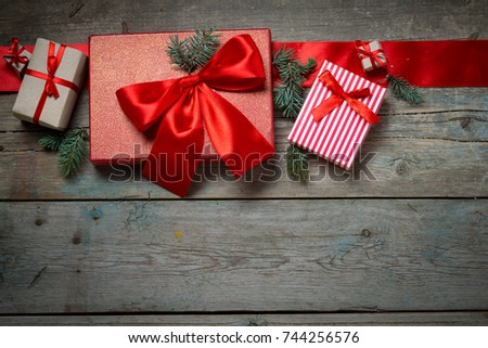 Christmas background on wooden boards