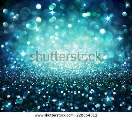 christmas background - shining glitter - blue  - stock photo