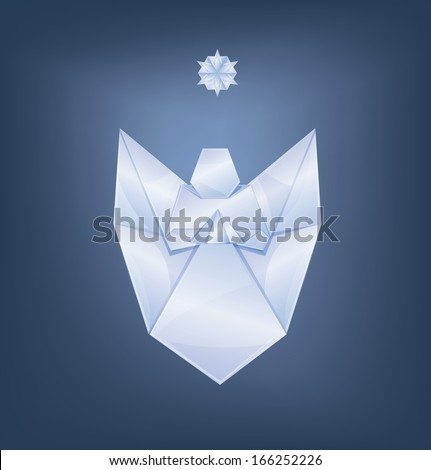 Christmas background singing angel first star origami stylized - stock photo