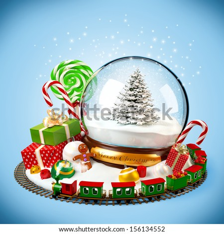 Christmas background. snow globe, gifts and railroad on blue - stock photo