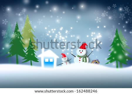 Christmas background - snowman and snowflake
