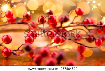 Christmas background. Traditional New Year decorations over glowing golden holiday background  - stock photo