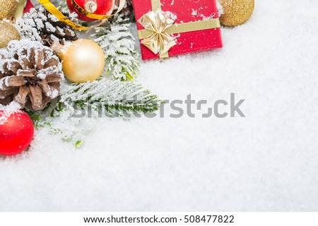 christmas background white border snowflakes space holiday xmas red gold green snow golden copy space gift present noel concept - stock image