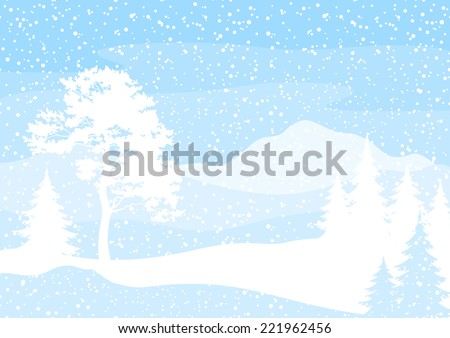Christmas background, winter landscape with trees blue and white silhouettes and snow.
