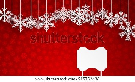 Christmas background with a blank sign and hanging snowflakes on red background of small snowflakes. Christmas illustration with snowflakes and empty signboard