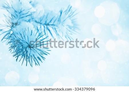 Christmas background with a coniferous branch in snow - stock photo