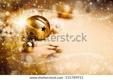 Christmas background with a magic ray of light - stock photo