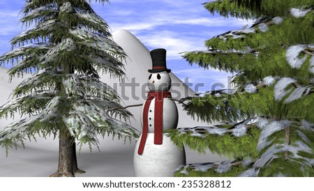 Christmas Background with a Snowman and two fir trees  - stock photo