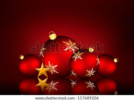 Christmas background with an illustration of red snowflake baubles and a golden star - stock photo