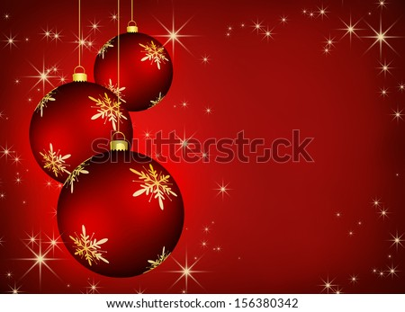 Christmas background with an illustration of three red snowflake baubles. - stock photo