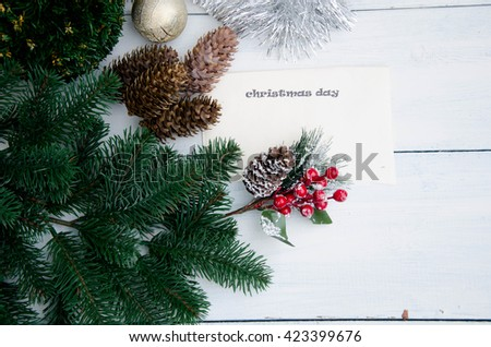 Christmas background with balls and decorations  - stock photo