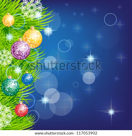 christmas background with baubles and christmas tree for design - stock photo