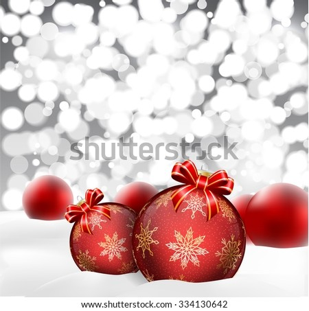 Christmas background with baubles blurred