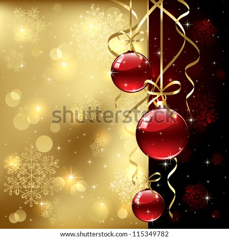 Christmas background with baubles, illustration. - stock photo