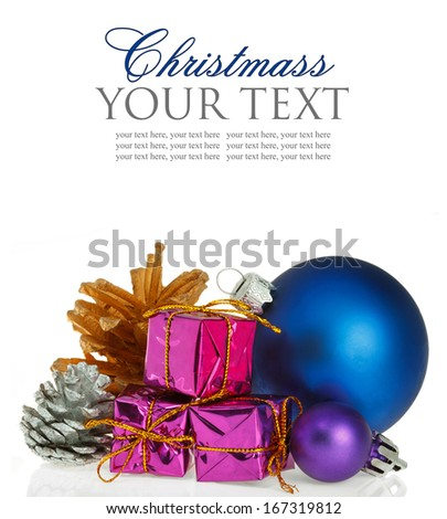 Christmas background with blue ball gift box isolated on white background - stock photo
