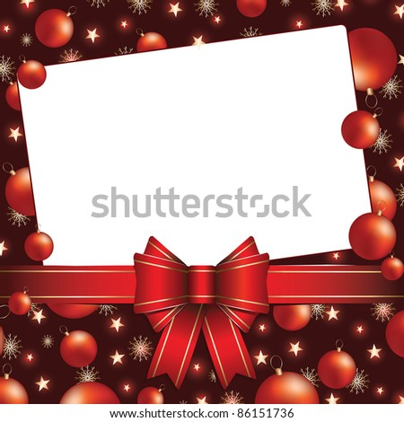 christmas background with bow and baubles (also available vector version of this image)