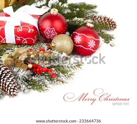 Christmas background with branches of a Christmas tree, cones and fir-tree  spheres.