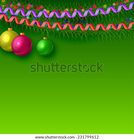 Christmas background with branches of fir trees and Christmas decorations. Raster copy - stock photo