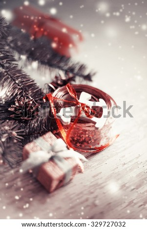 Christmas background with christmas decorations  - stock photo