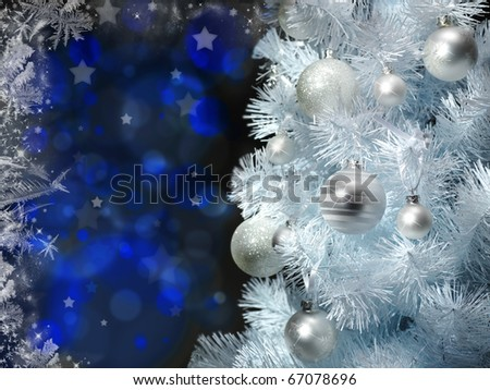 Christmas background with christmas tree and baubles