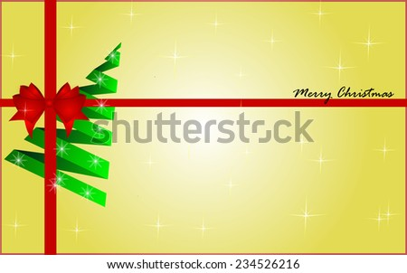 Christmas background with christmas tree and red bow