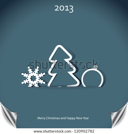 Christmas background with christmas tree and snowflake - stock photo