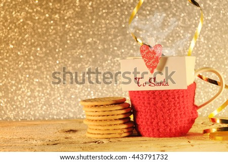 Christmas background with cup of tea - stock photo