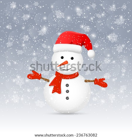 Christmas background with cute snowman and red Santa hat, illustration. - stock photo