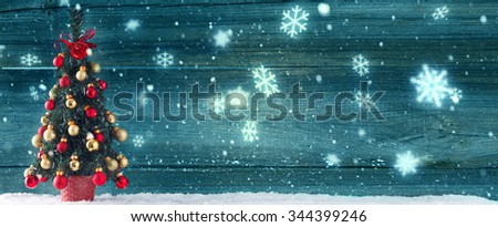 christmas background with decorated christmas tree - stock photo