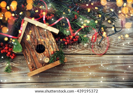 Christmas background with decoration - stock photo