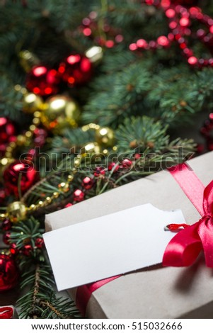 Christmas background with decorations on wooden board