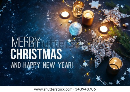 Christmas background with festive decoration  and text - Merry Christmas and Happy New Year.  - stock photo