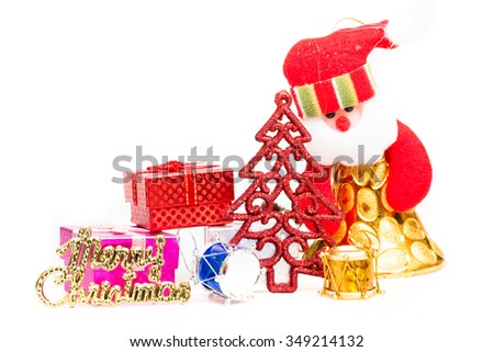 Christmas background with festive decoration on white background.