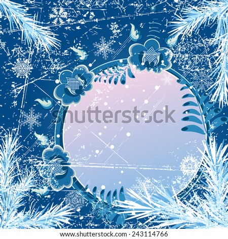 Christmas background with fir branches and stylized flowers - stock photo