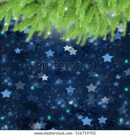 christmas background with fir tree and stary night sky - stock photo