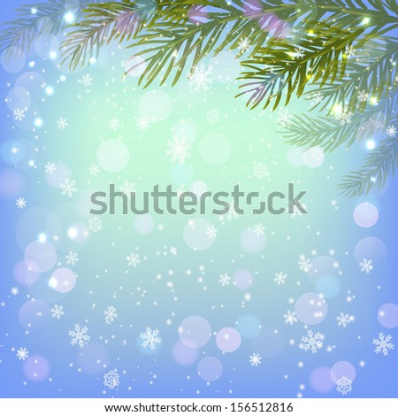 Christmas background with  fir-tree branches - stock photo