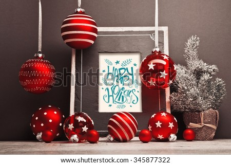 Christmas background with frame and Christmas balls. Frame with congratulatory text - stock photo