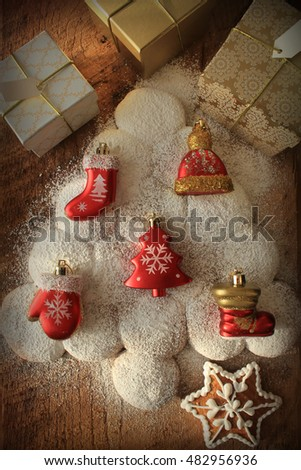 Christmas background with gingerbread tree on wooden table