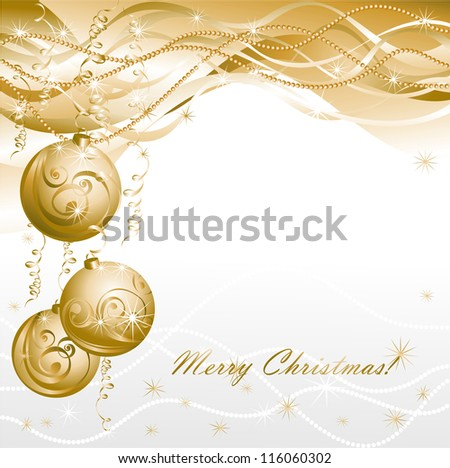 Christmas background with gold evening balls - stock photo