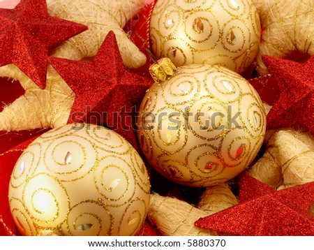 Christmas background with golden balls and stars - stock photo