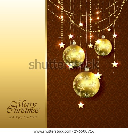 Christmas background with golden balls, stars and decorative elements on brown wallpaper, illustration. - stock photo
