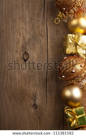 christmas background with golden decoration - stock photo