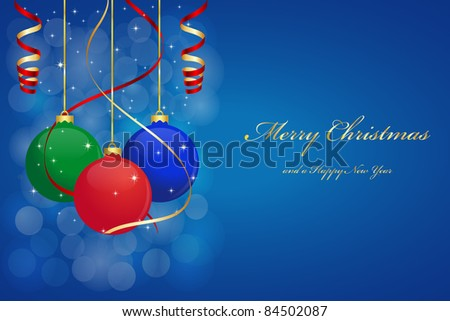 Christmas background with hanging balls. Vector available.