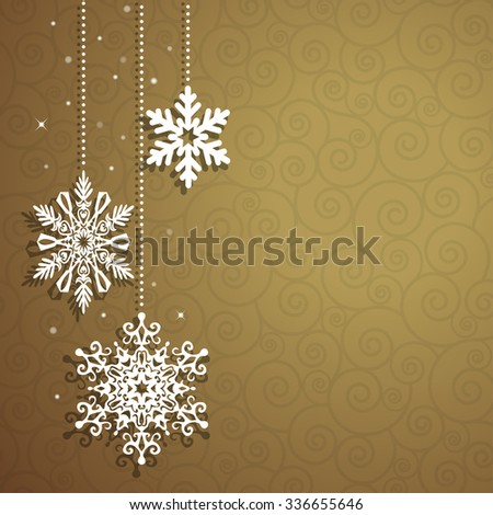 Christmas background with hanging snowflakes - stock photo