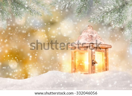 Christmas background with magic lantern - stock photo