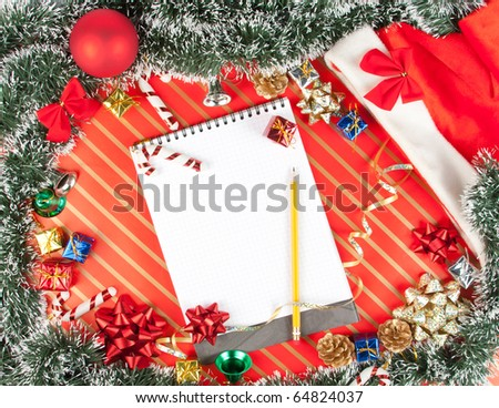 Christmas background with notepad, hat, gifts, bows, bells and other