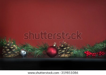 Christmas Background with ornaments and pinecones - stock photo