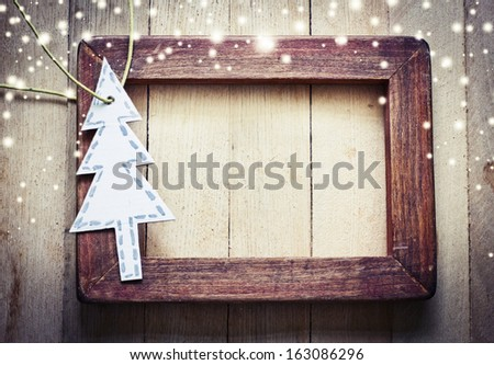 Christmas background with paper christmas tree - stock photo