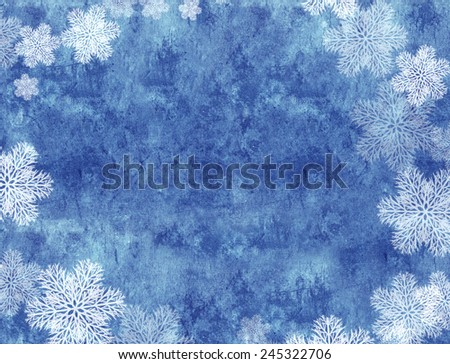 Christmas background with paper texture and snowflakes